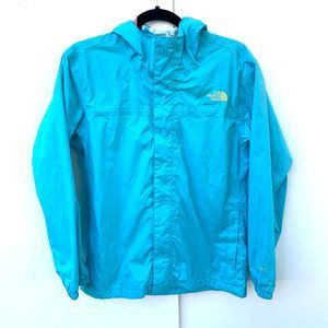 The North Face Hooded Girls Rain Jacket Aqua Blue